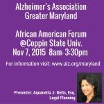 Alzheimer's Association November 7, 2015 African American Forum