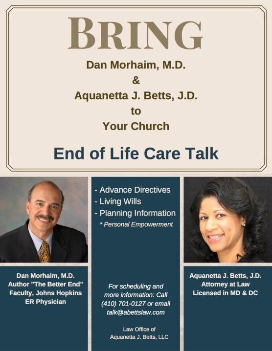 Morhaim and Betts End of Life Care Talk Church Flyer
